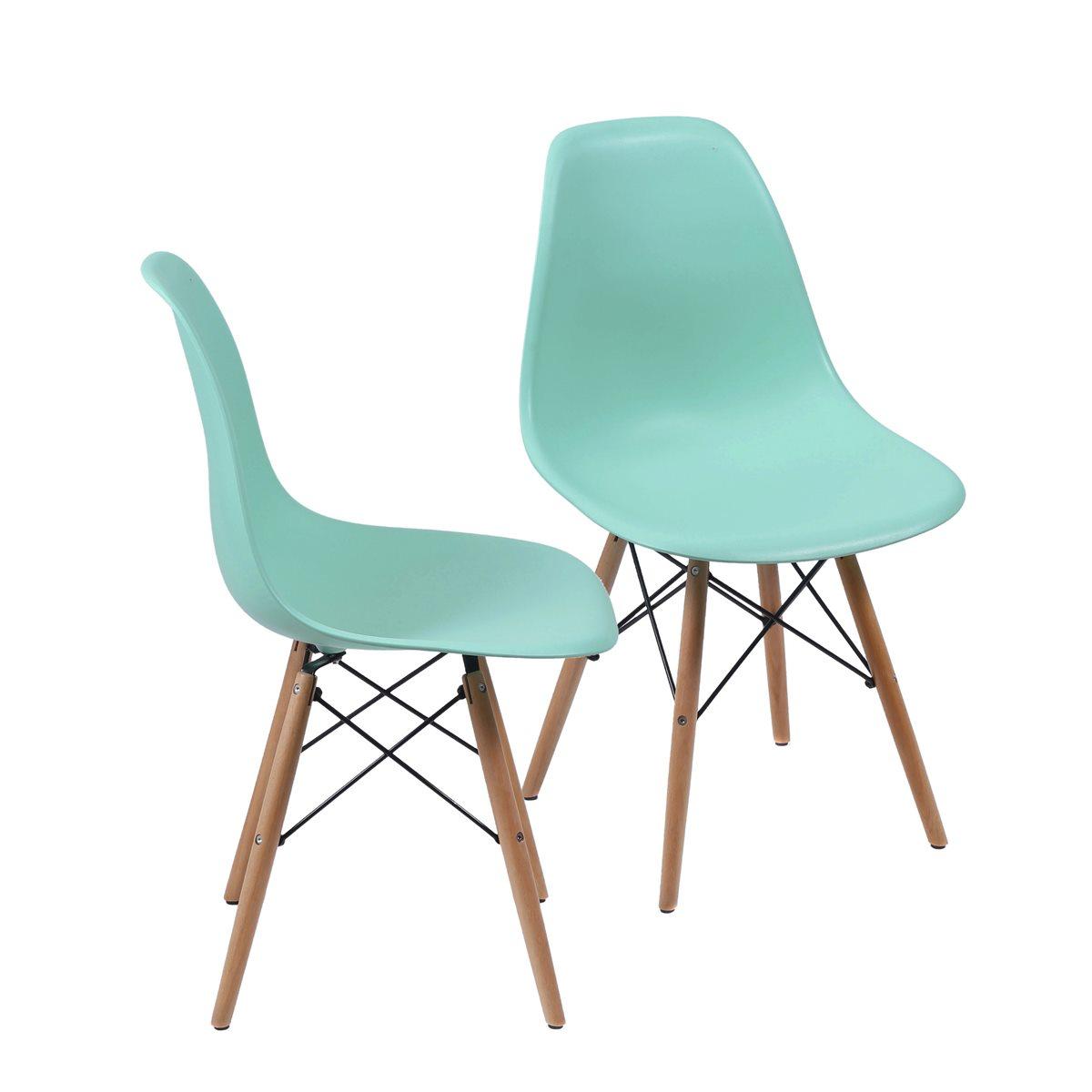 Conjunto 2 Cadeiras Eames Dsw Madeira com Concha em Polipropileno - Várias Cores