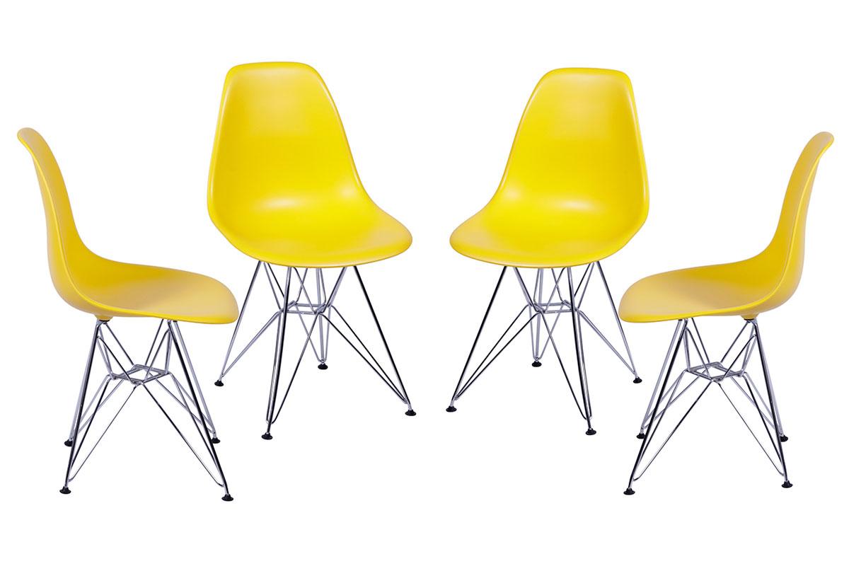 Conjunto 4 Cadeiras Eames DSR Cromada com Concha em Polipropileno - Várias Cores