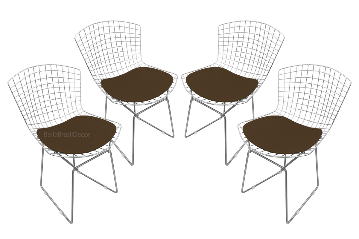 Conjunto com 4 Cadeiras Bertoia Aço Inox com Assento - Várias Cores
