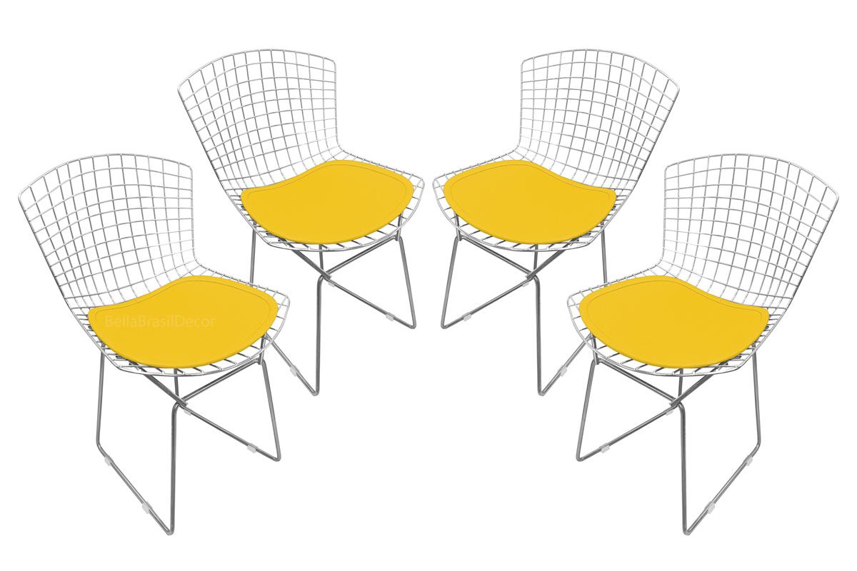 Conjunto com 4 Cadeiras Bertoia Cromada com Assento - Várias Cores