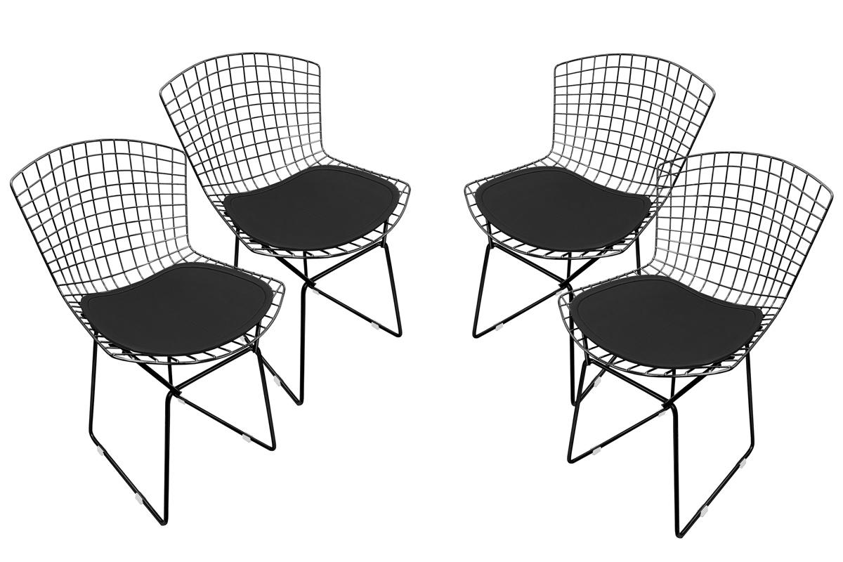 Conjunto com 4 Cadeiras Bertoia Preta Brilhante com Assento - Várias Cores