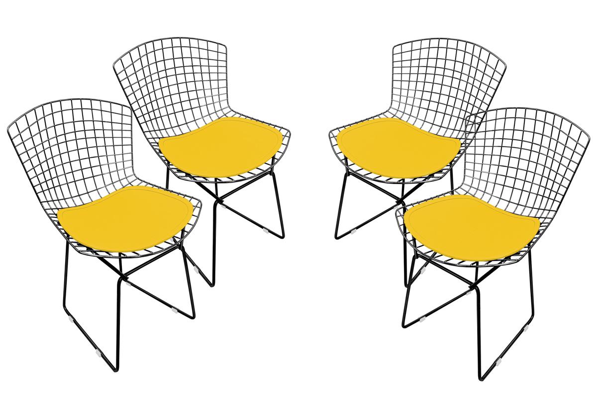 Conjunto com 4 Cadeiras Bertoia Preta Fosca com Assento - Várias Cores