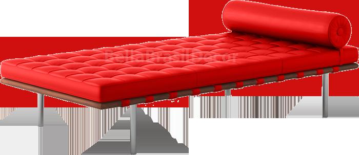 Couch Recamier Barcelona na cor Vermelha