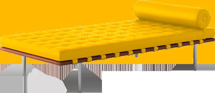 Couch Recamier Barcelona na cor Amarela