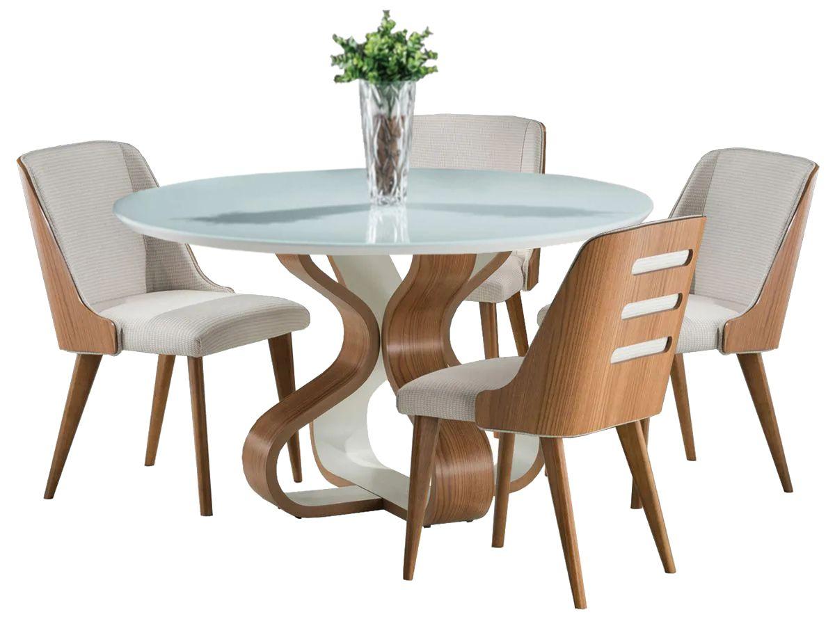 Jogo de Mesa de Jantar Bruxelas Redonda e 4 Cadeiras Binche Estofadas