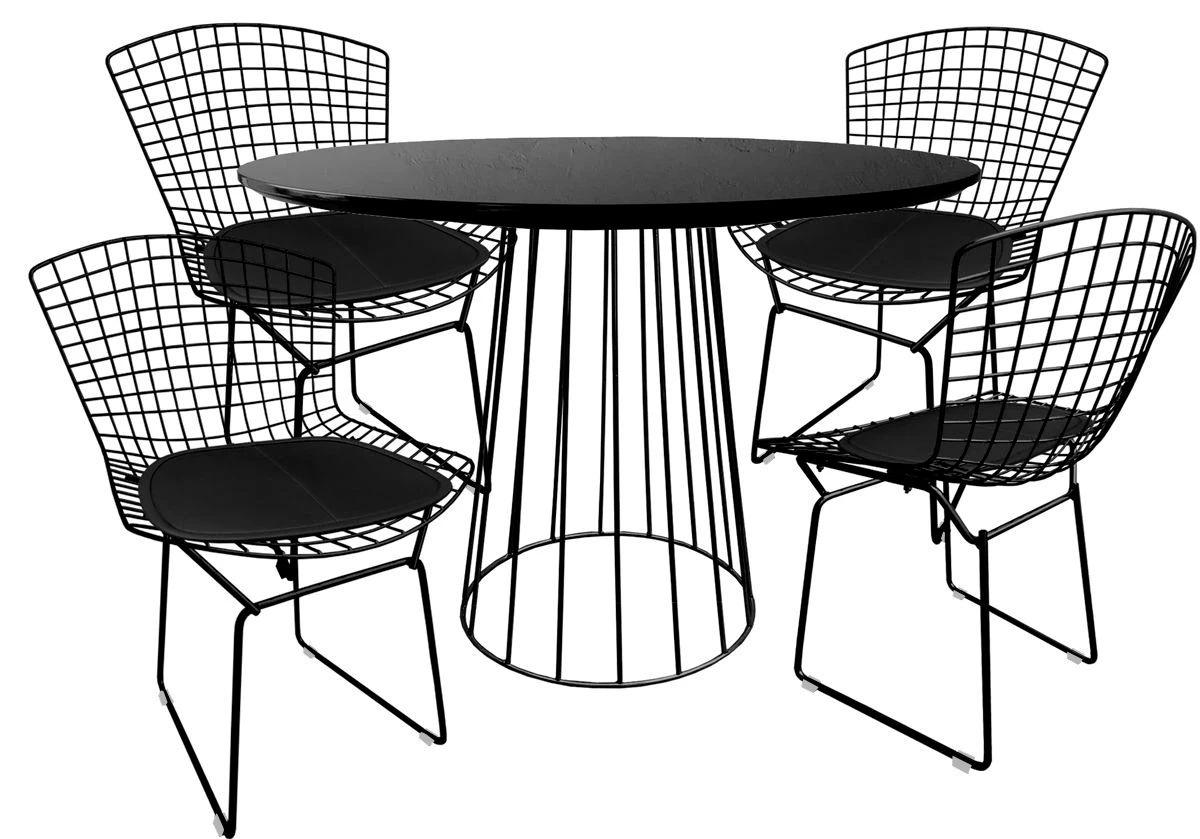 Jogo de Mesa de Jantar Cone Redonda Raiada Preta Brilhante Ø 100cm Tampo Coverglass e 4 Cadeiras Bertoia Preta