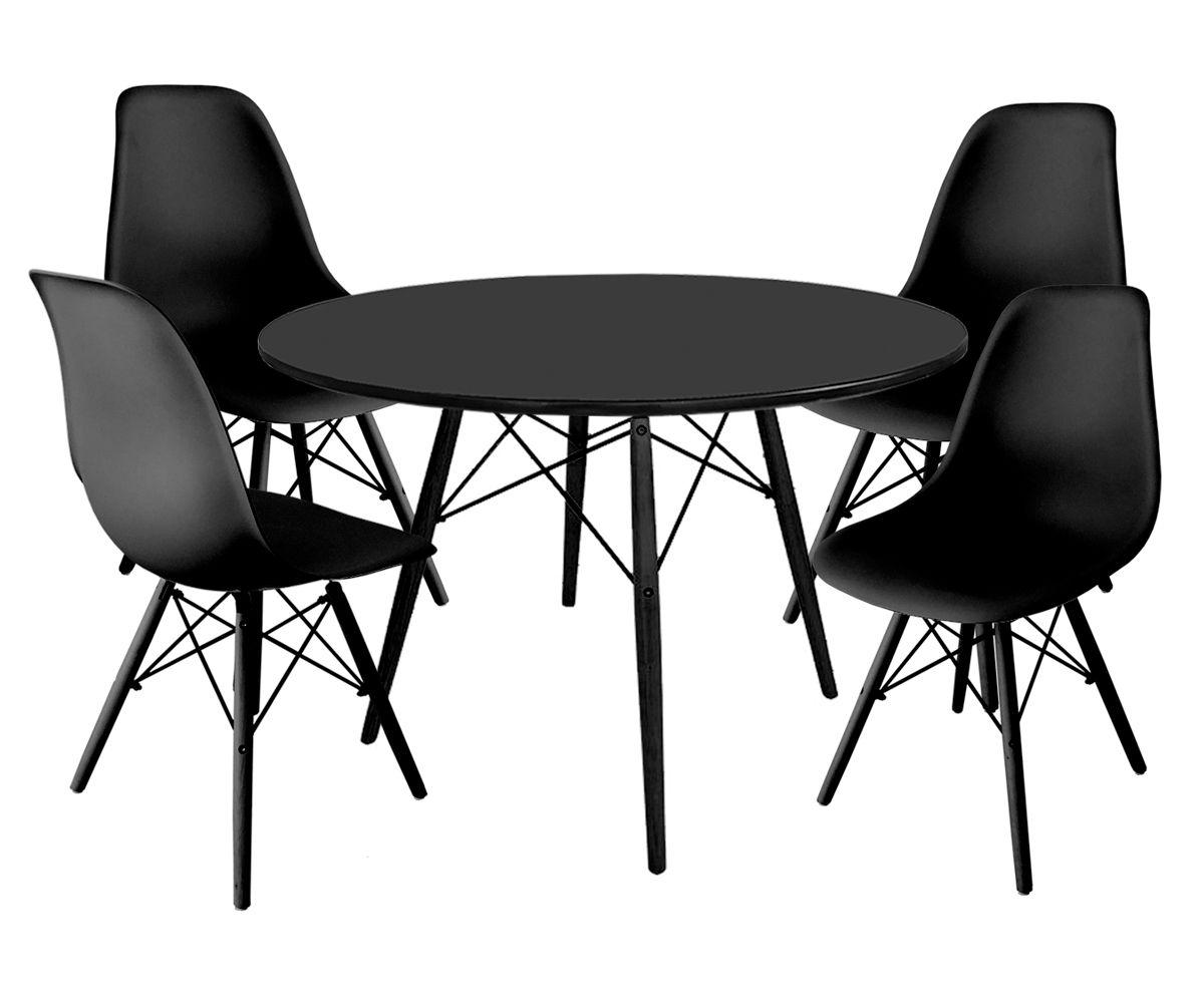 Jogo de Mesa de Jantar Eames Black com Tampo Coverglass Preto Ø 100cm