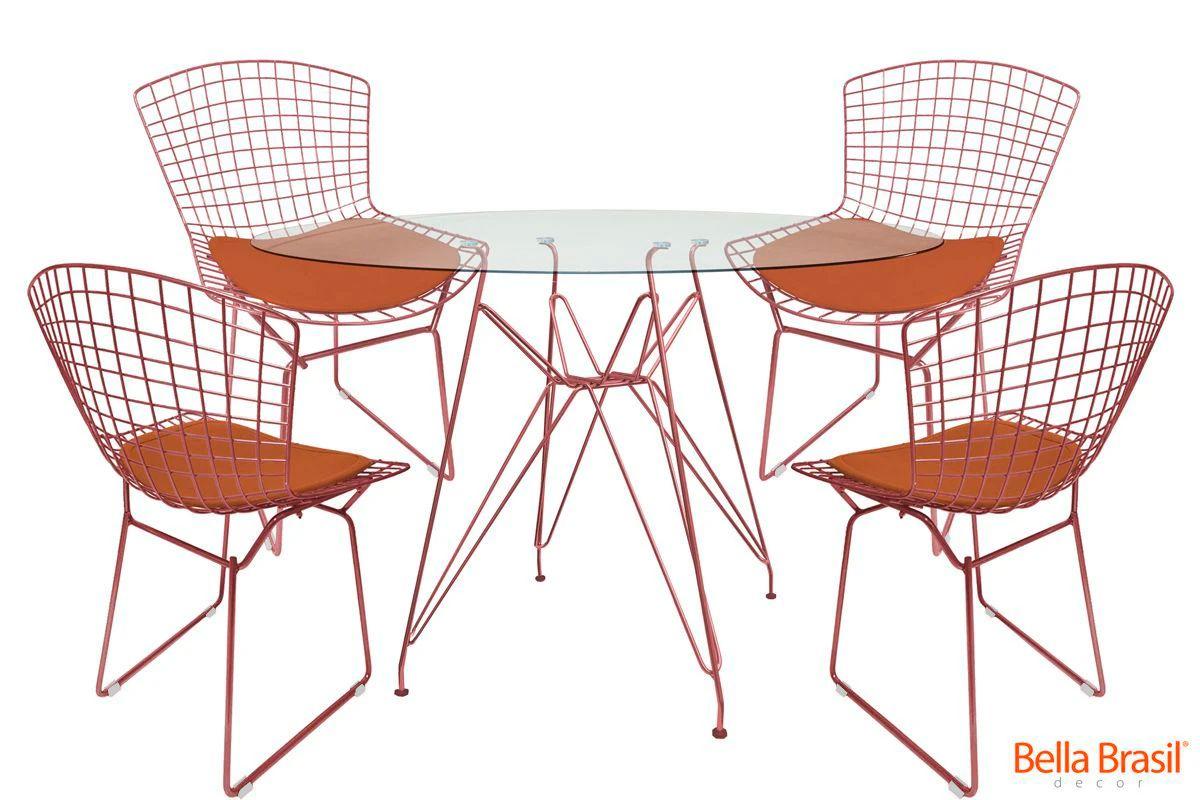 Jogo de Mesa de Jantar Eames Cobre Rose Gold Tampo Vidro 1,20m e 4 Cadeiras Bertoia Tradicional Cobre Rose Gold