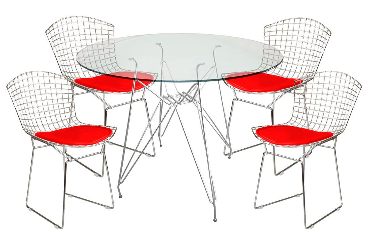 Jogo de Mesa de Jantar Eames Cromada Ø 120cm e 4 Cadeiras Bertoia Cromadas