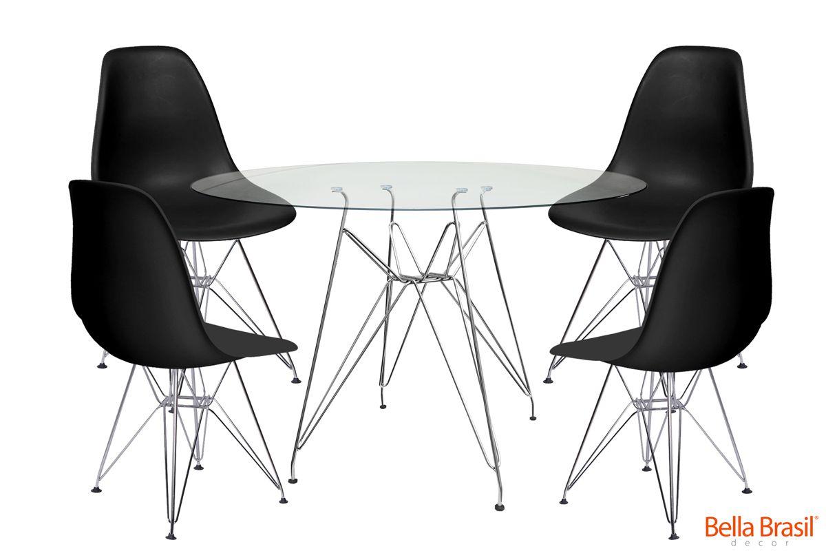 Jogo de Mesa de Jantar Eames Cromada Tampo de Vidro 100CM + 4 Cadeiras DSR PP