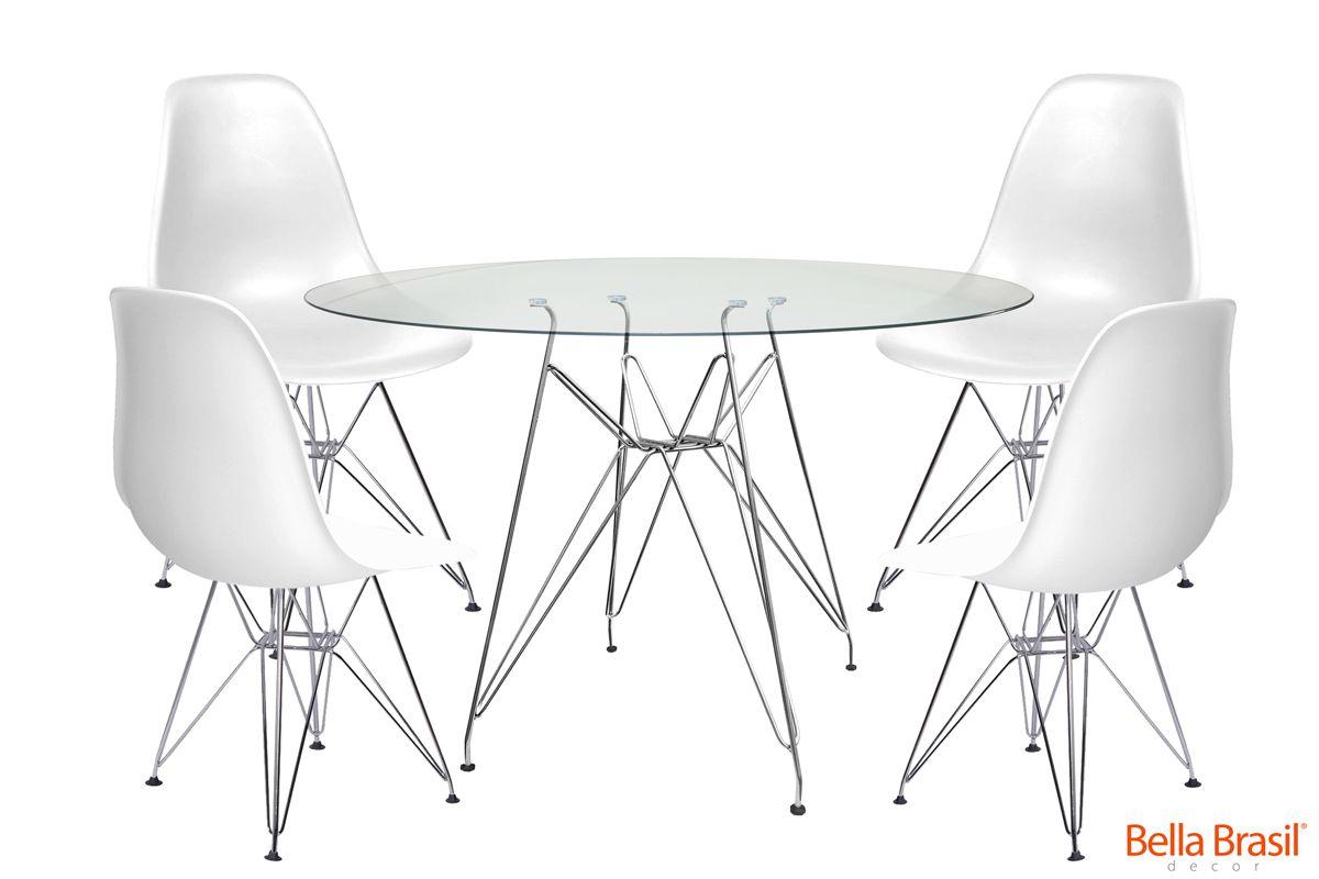 Jogo de Mesa de Jantar Eames Cromada Tampo de Vidro 120CM + 4 Cadeiras DSR Polipropileno