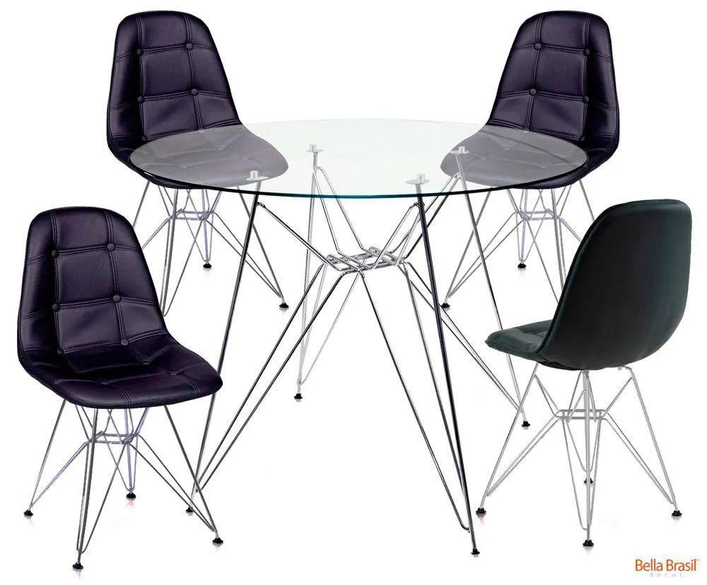 Jogo de Mesa de Jantar Eames DSR 80cm com Tampo de Vidro e 4 Cadeiras Botonê Corino Preto