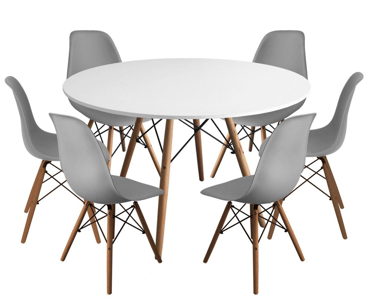 Jogo de Mesa de Jantar Eames Gofrato 120cm Branco e 6 Cadeiras Eames DSW PP