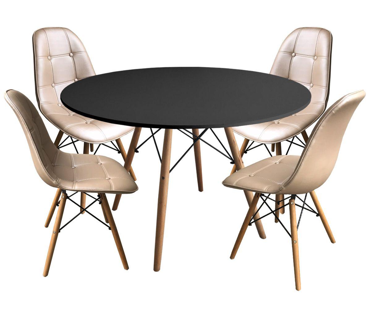 Jogo de Mesa de Jantar Eames Gofrato com Tampo Preto e 4 Cadeiras Eames DSW Botonê Facto