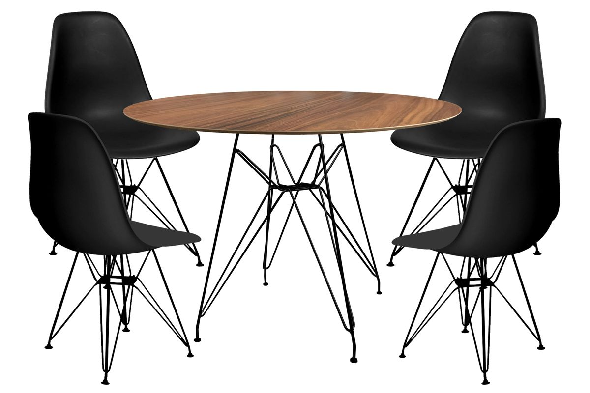 Jogo de Mesa de Jantar Eames Preta com Tampo Imbuia de Madeira Ø 120cm e 4 Cadeiras DSR PP Base Preta