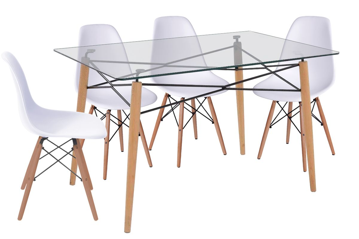 Jogo de Mesa de Jantar Eames Retangular 120x80cm e 4 Cadeiras Eames DSW