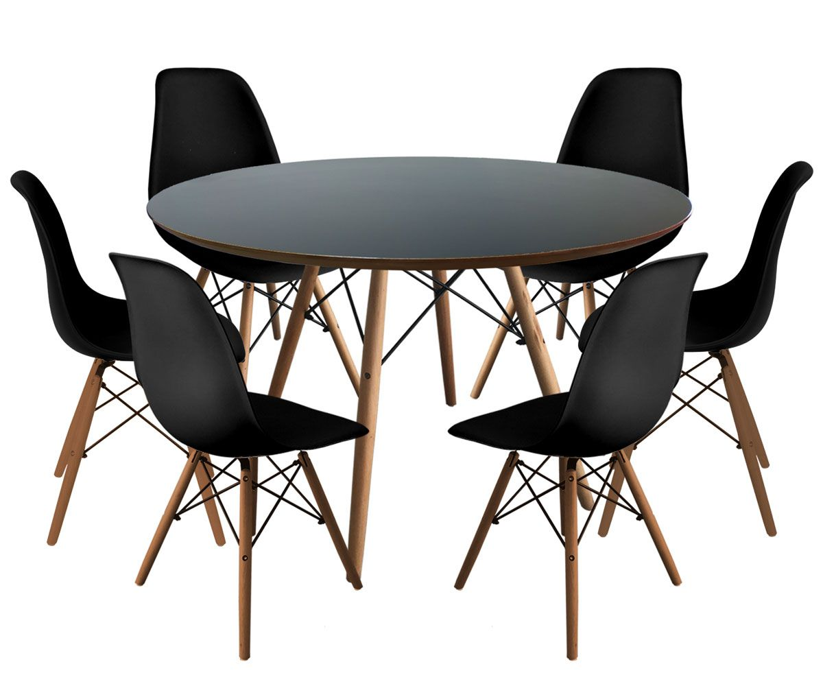 Jogo de Mesa de Jantar Eames Tampo Preto Ø 120cm e 6 Cadeiras DSW PP