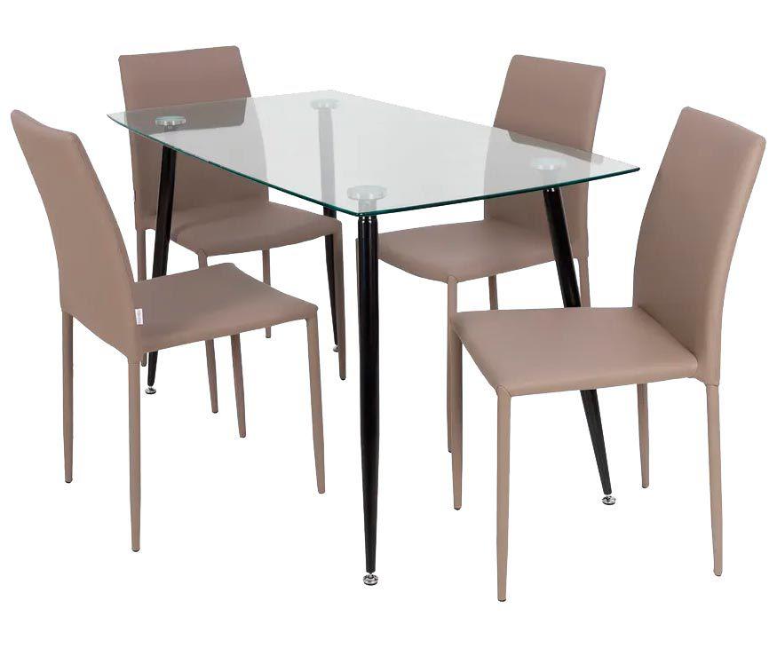 Jogo de Mesa de Jantar Humaitá com Tampo de Vidro 120x80cm e 4 Cadeiras Amanda