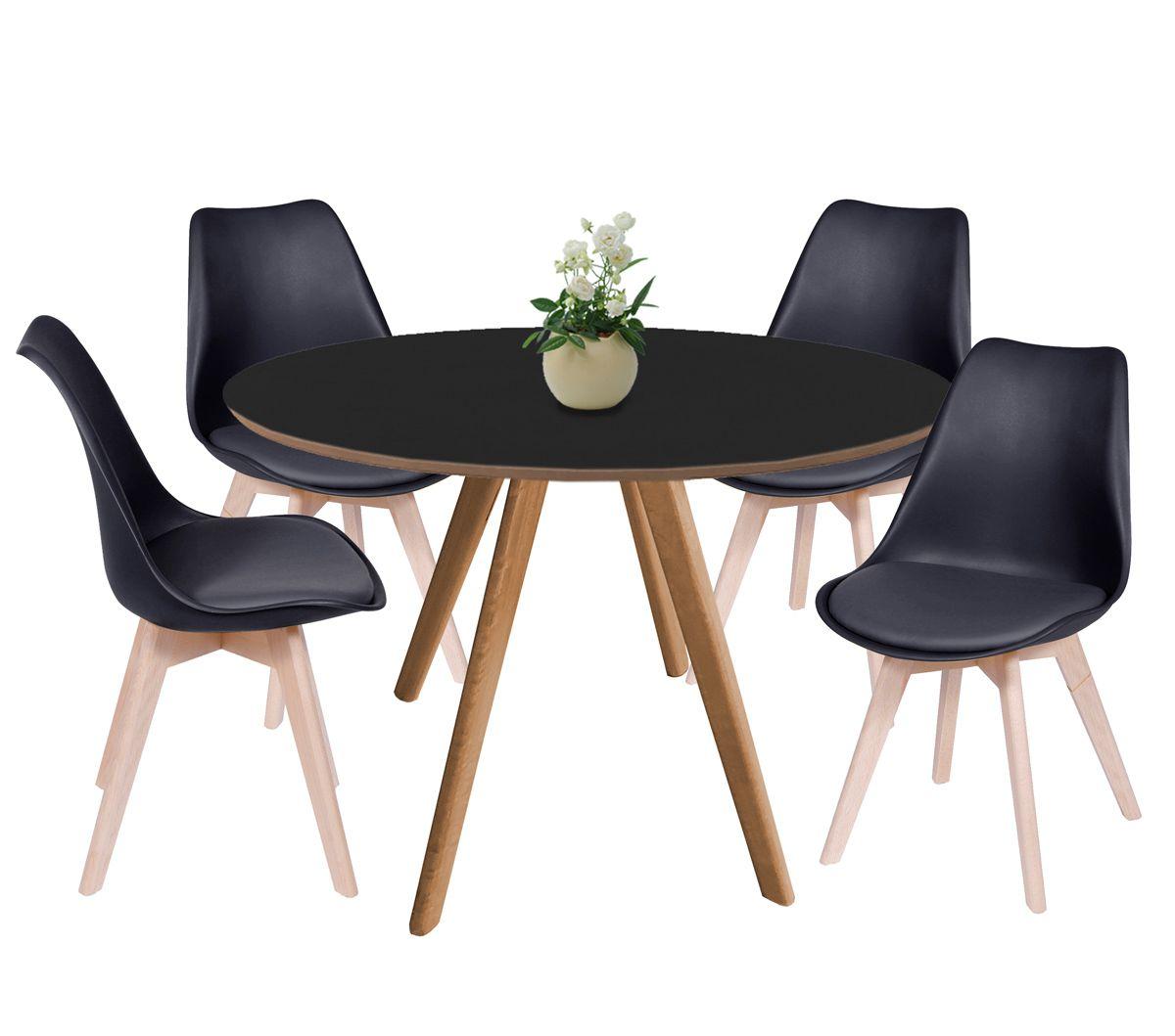 Jogo de Mesa de Jantar Leda Ø 120cm e 4 Cadeiras Leda em PP