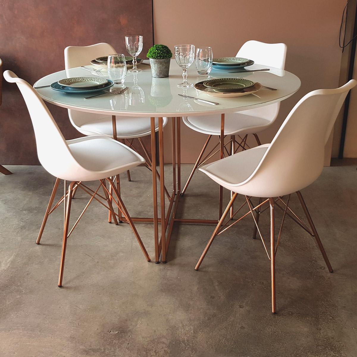 Jogo de Mesa de Jantar New Elegance Acobreado com 4 Cadeiras Leda Tower