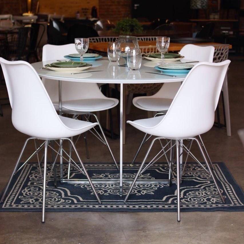 Jogo de Mesa de Jantar New Elegance Cromada com 4 Cadeiras Leda
