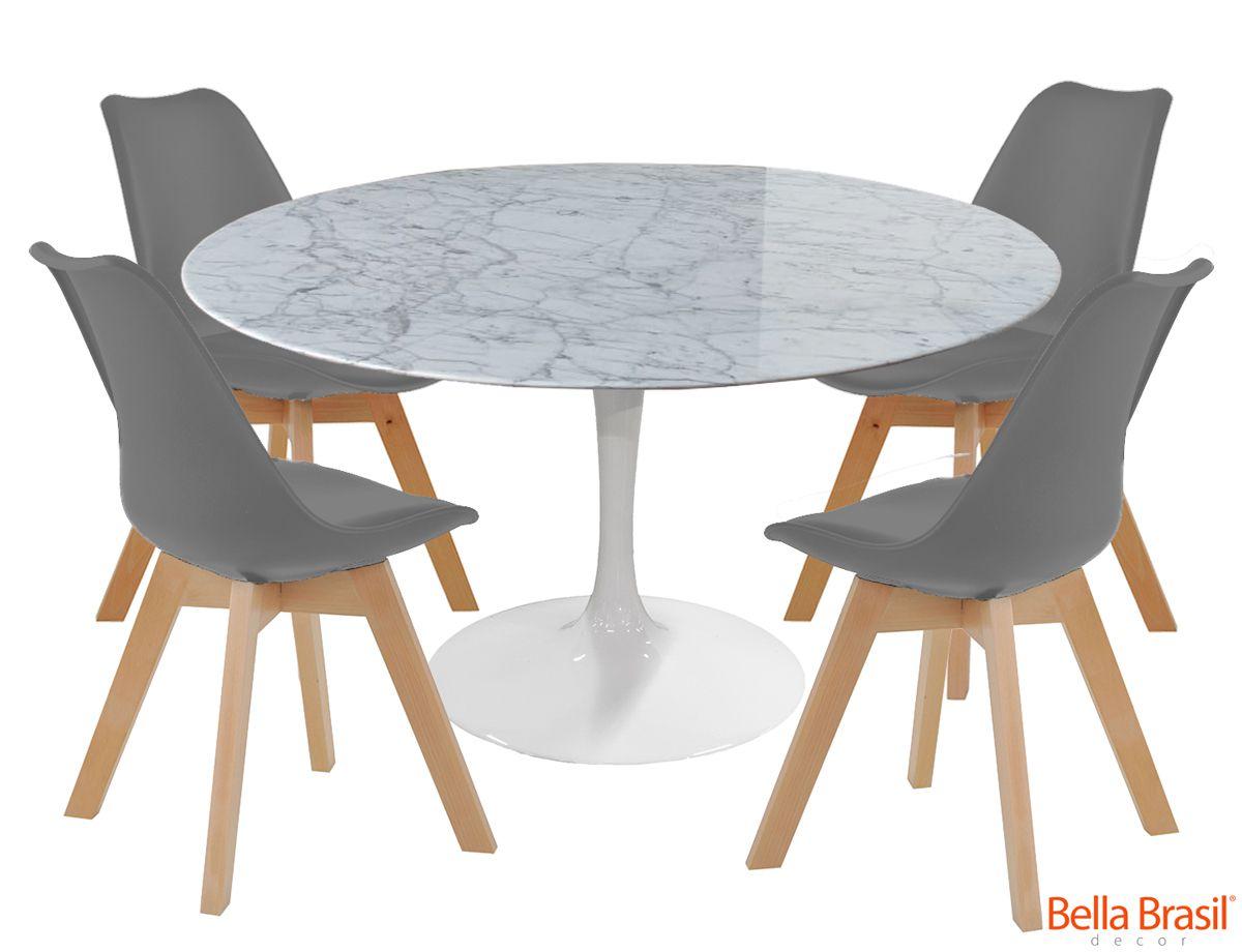 Jogo de Mesa de Jantar Redonda Saarinen Branca Ø 124cm e 4 Cadeiras Dozza PP
