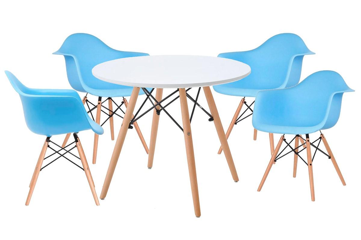 Jogo de Mesa Infantil Eames Madeira Branca Ø 60CM e 4 Cadeiras Eames DAW Infantil Azul
