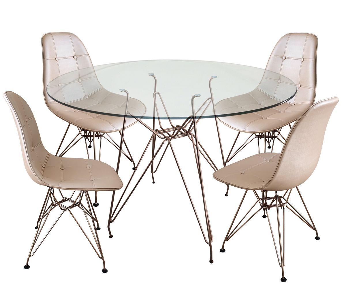 Jogo Mesa de Jantar Eames Torre Eiffel Cobre Rose Gold 120cm e 4 Cadeiras Eames DSR Botonê Assento Facto
