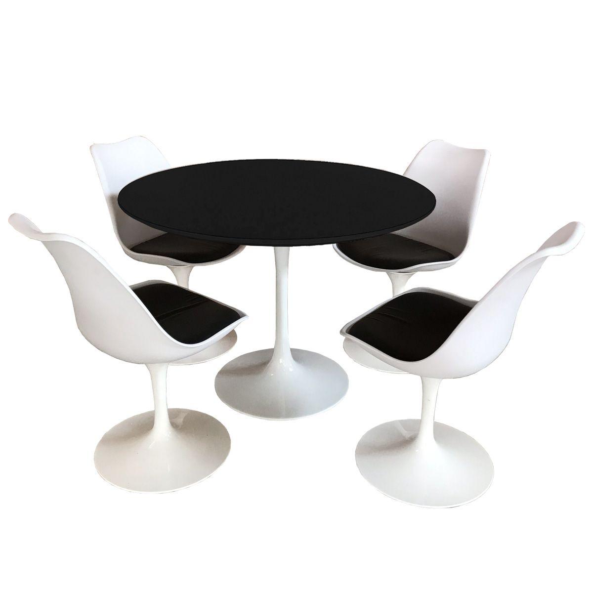 Jogo Mesa de Jantar Saarinen 100cm Branca e 4 Cadeiras Saarinen Brancas com Assento Estofado Preto