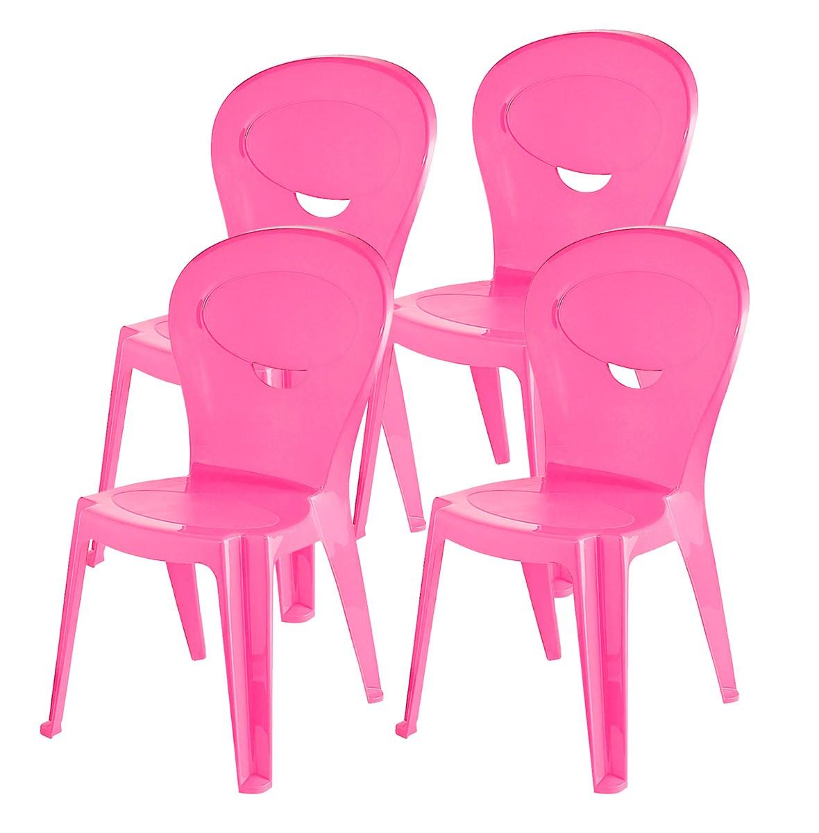 Kit 4 Cadeiras Infantil Vice Rosa - Ponta de estoque