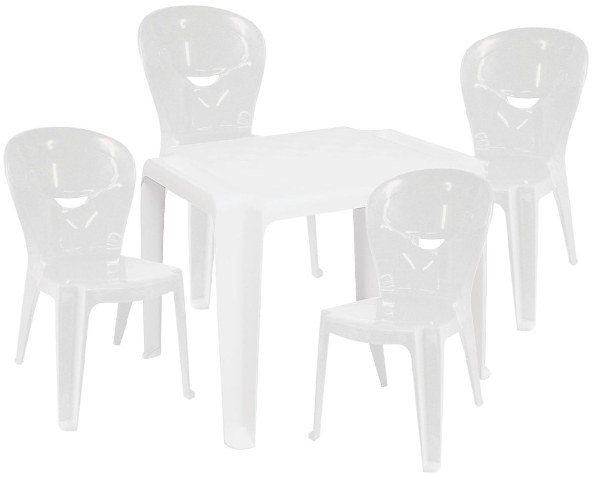 Kit Infantil Mesa Dona Chica e Cadeira Vice Branca - Ponta de estoque