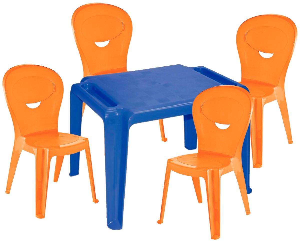 Kit Infantil Mesa Dona Chica e Cadeira Vice Laranja- Ponta de estoque