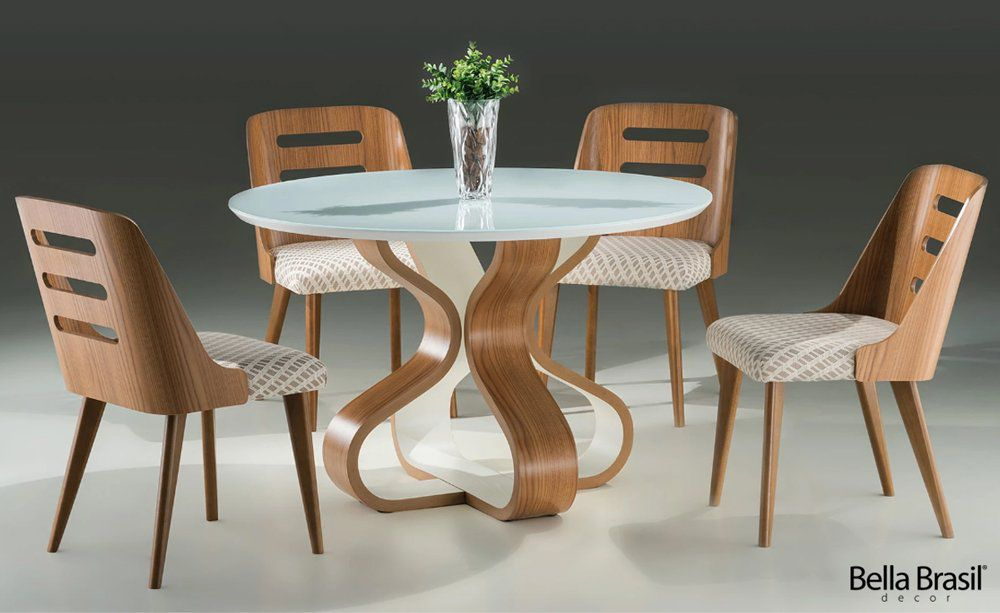 Jogo de Mesa de Jantar Bruxelas Redonda e 4 Cadeiras Couvin