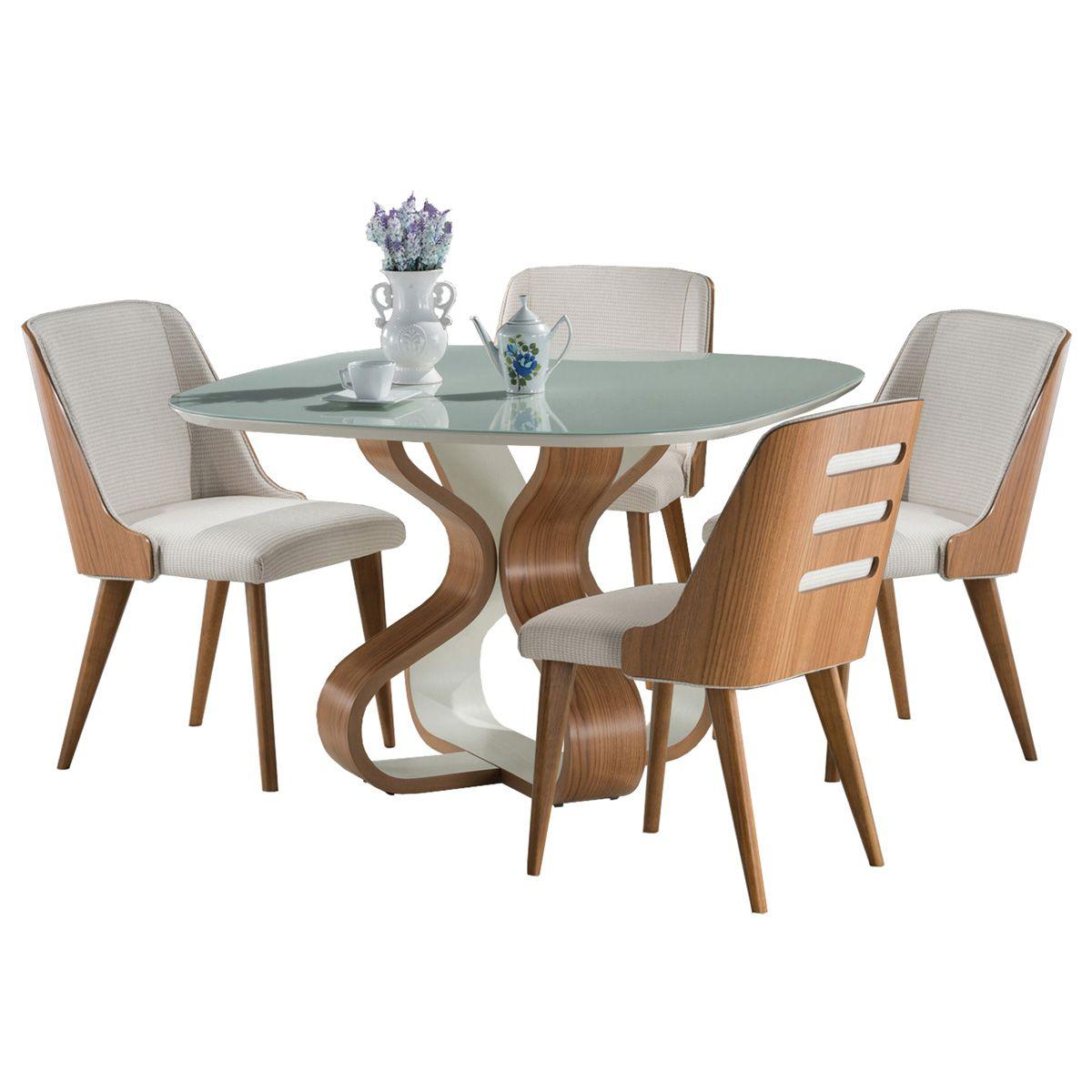 Jogo Mesa de Jantar Bruxelas Quadrada e 4 Cadeiras Binche Estofadas
