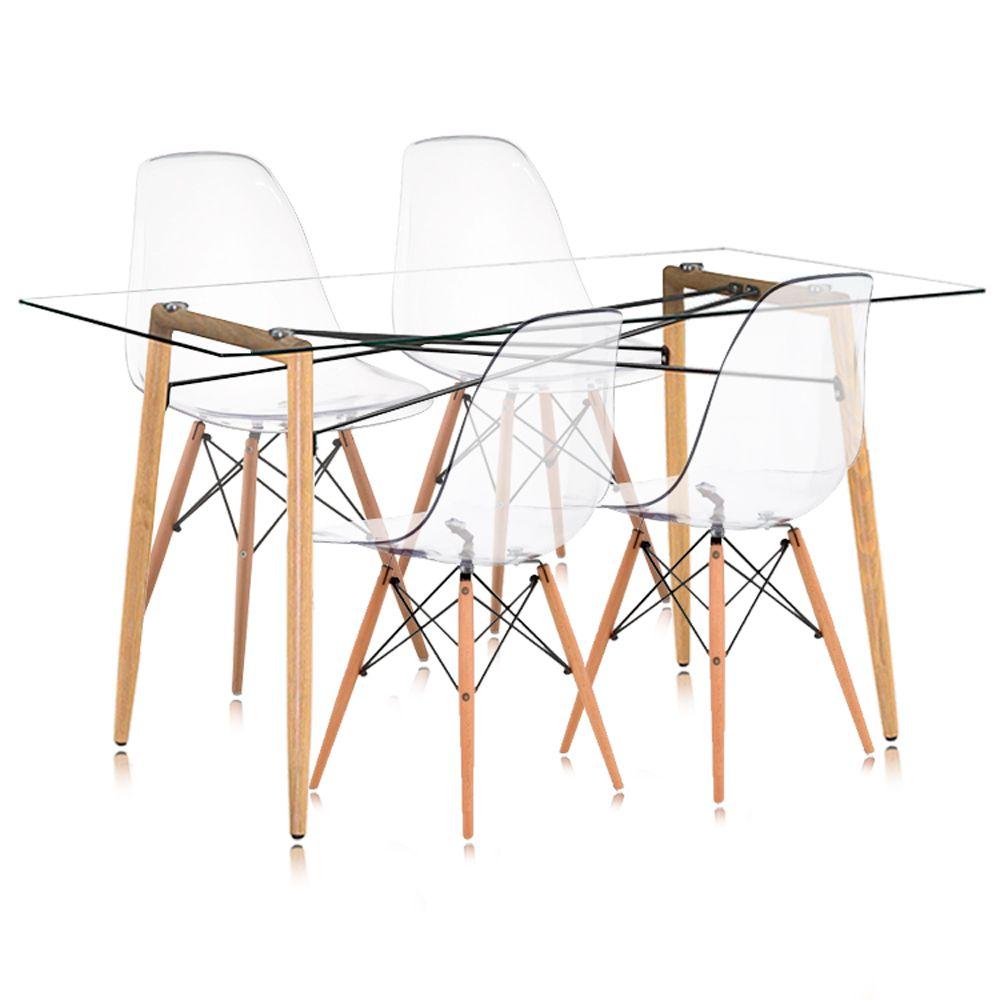 Jogo de Mesa de Jantar Retangular e Cadeiras Charles Eames