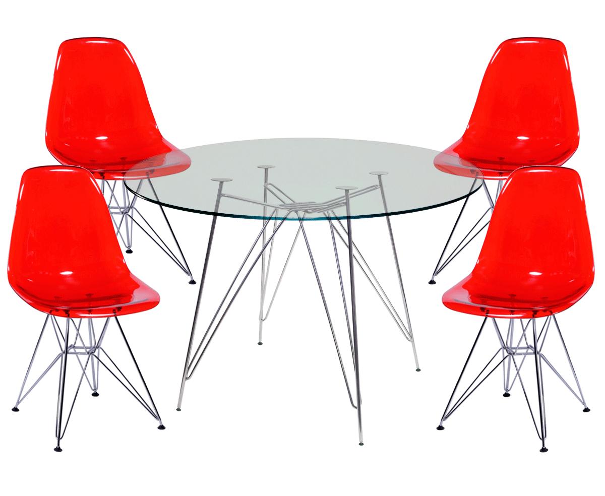 Jogo de Mesa de Jantar Eames Cromada Tampo de Vidro 100CM + 4 Cadeiras DSR Policarbonato