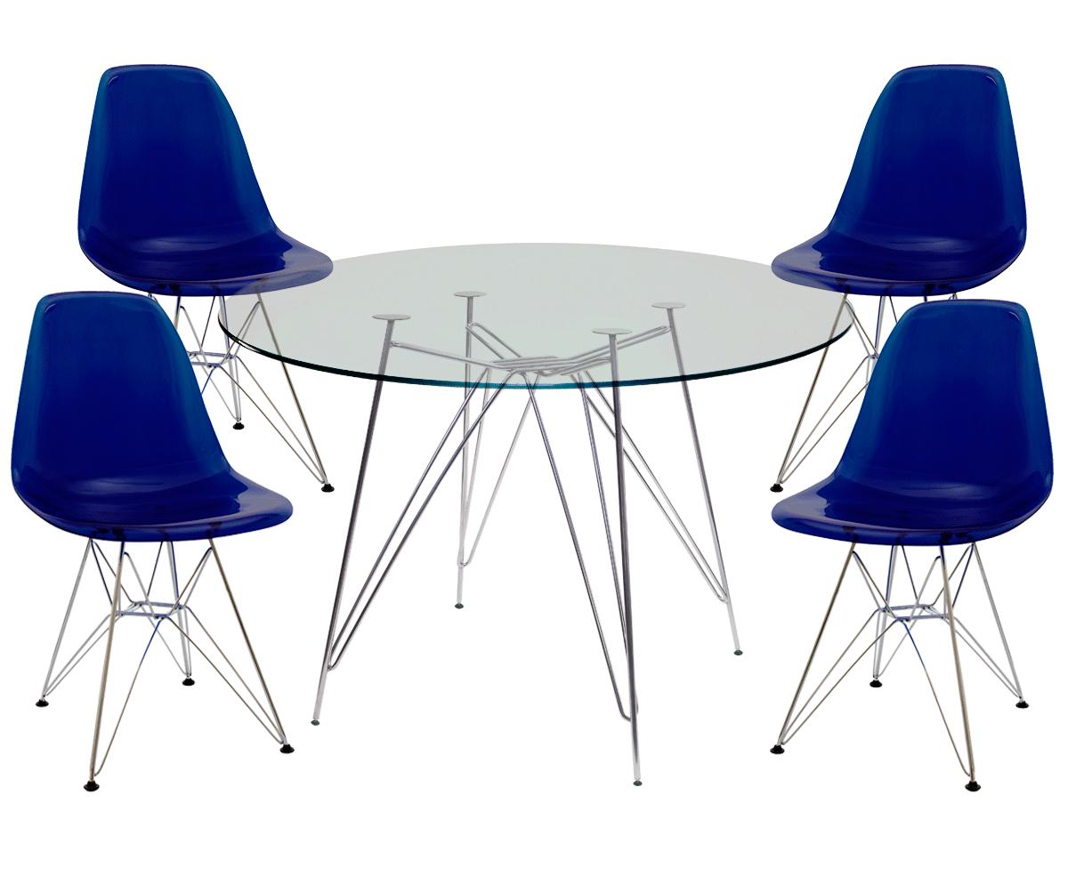 Kit Mesa Eames Cromada Tampo de Vidro 120CM + 4 Cadeiras DSR Policarbonato