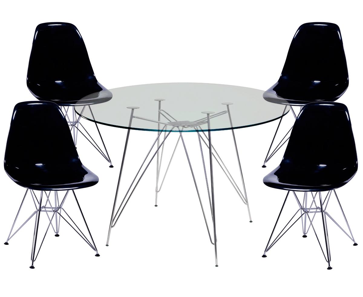 Jogo de Mesa de Jantar Eames Cromada Tampo de Vidro 120CM + 4 Cadeiras DSR PP