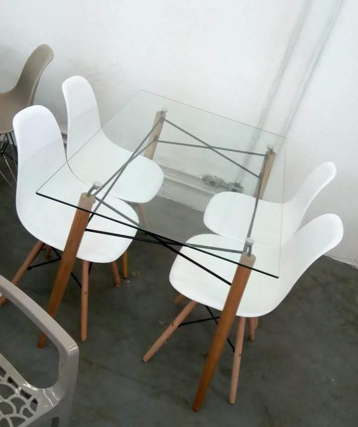 Kit Mesa Eames Retangular Pé Palito + 4x Cadeiras Eames DSW