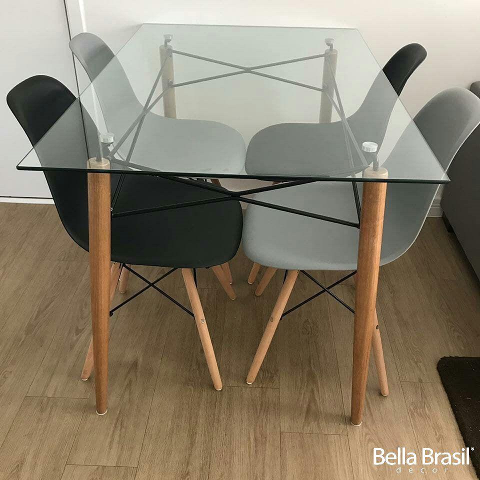 Jogo de Mesa de Jantar Eames Retangular 120cm x 80cm Pé Palito + 4x Cadeiras Eames DSW