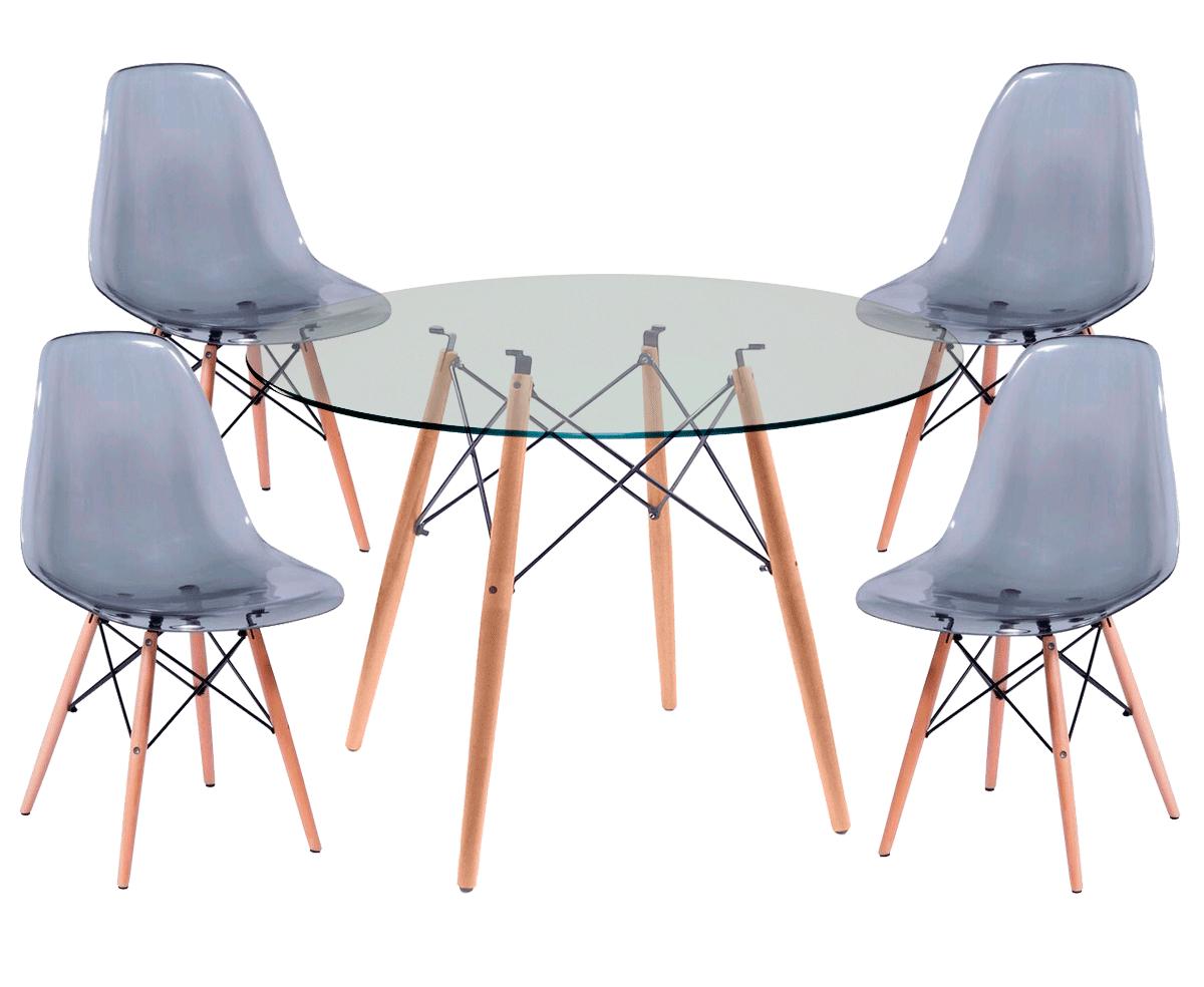 Jogo de Mesa de Jantar Eames Wood Tampo de Vidro 100CM + 4 Cadeiras DSW PP