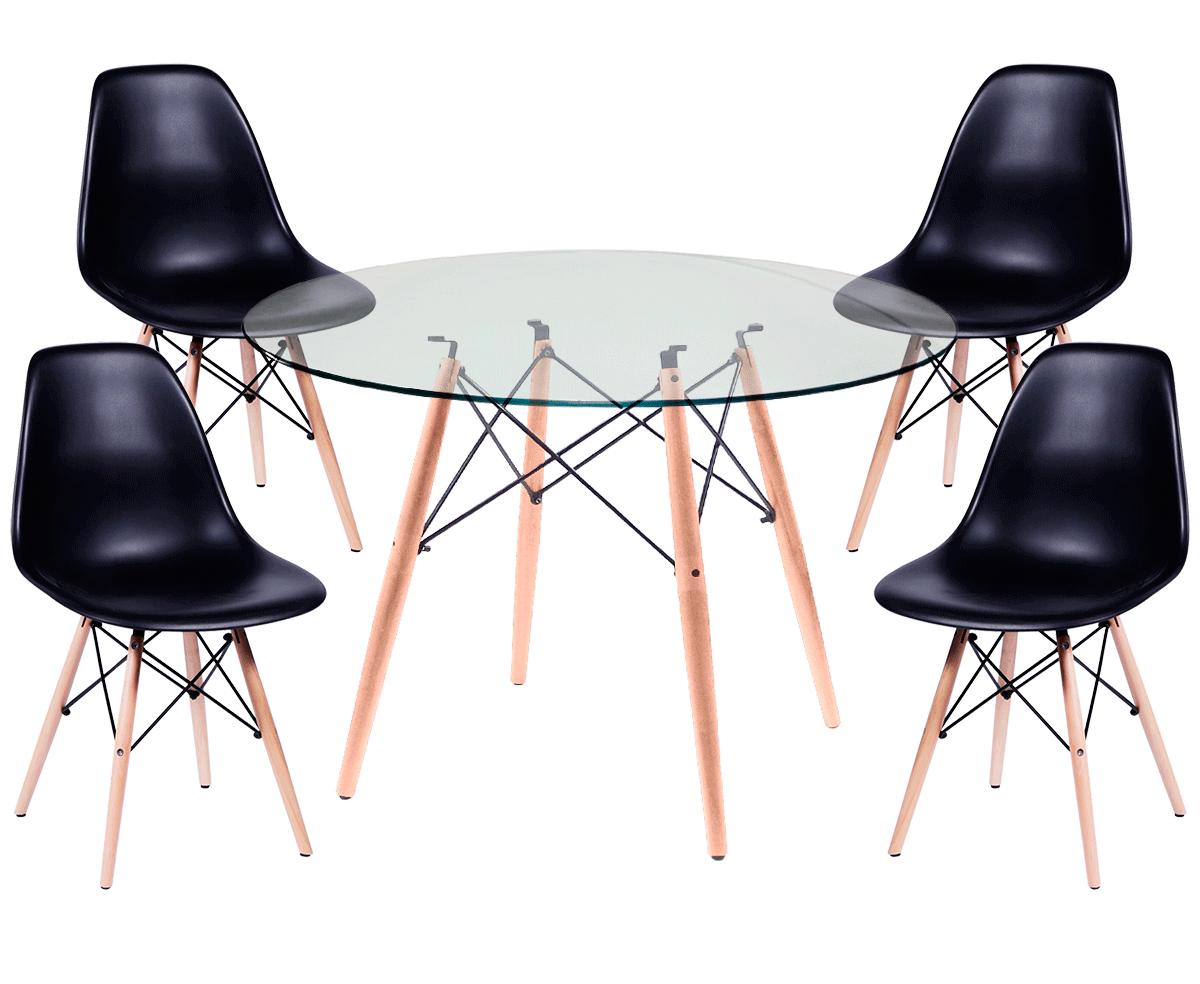 Jogo de Mesa de Jantar Eames Wood Tampo de Vidro 120CM + 4 Cadeiras DSW PP