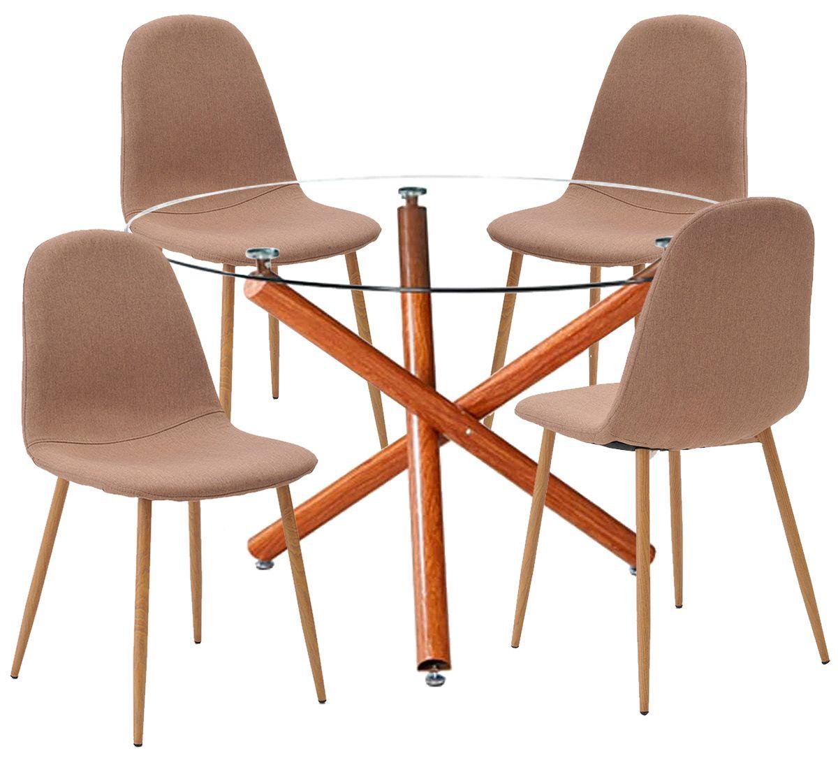 Jogo de Mesa de Jantar Palermo e Cadeiras Leeds