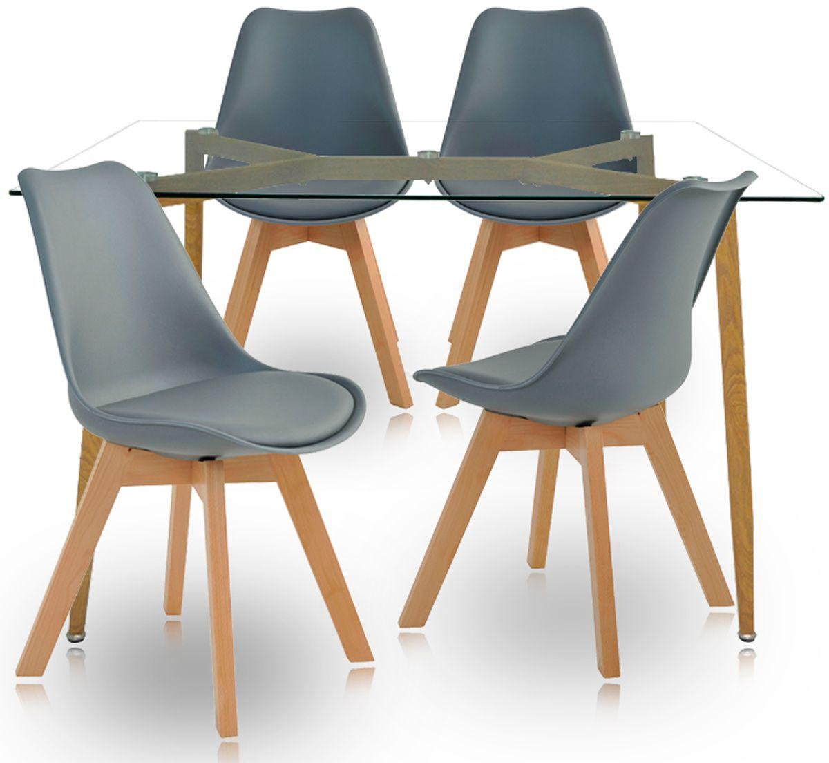 Jogo de Mesa de Jantar Retangular Arezzo e Cadeiras Dozza