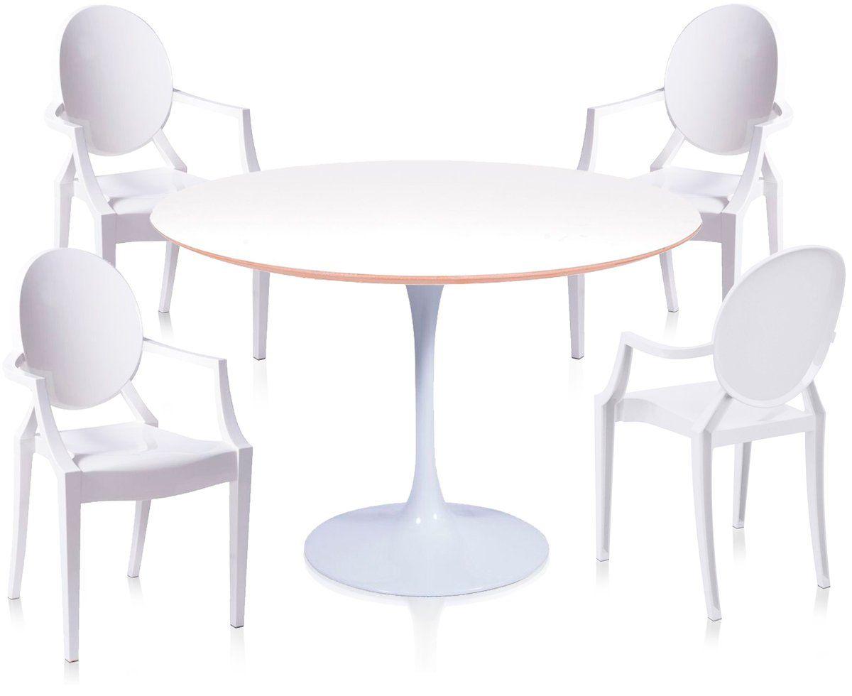 Jogo de Mesa de Jantar Saarinen Redonda Tampo Branco de Madeira 120CM + 4 Ghosts com Braço