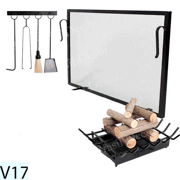Kit Para Lareira Com Tela 100x50 e Acessorios - Codigo V17