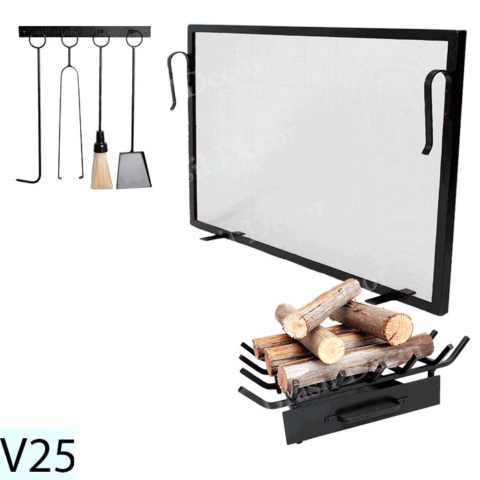 Kit Para Lareira Com Tela 100x50 e Acessorios - Codigo V25
