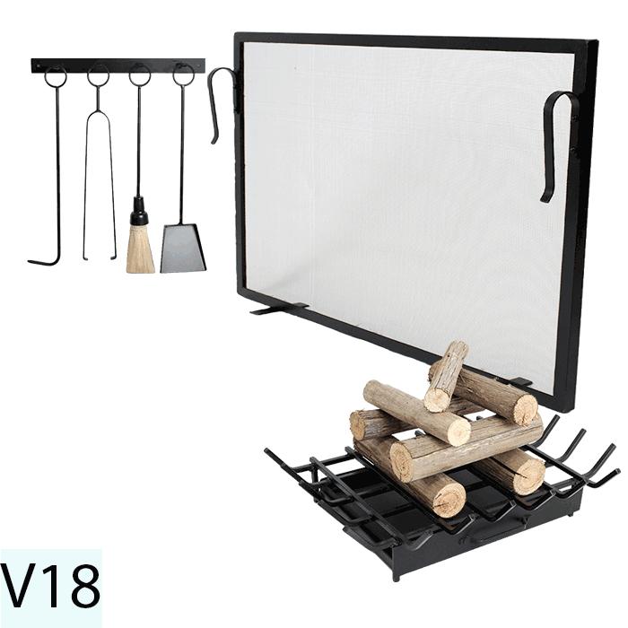 Kit Para Lareira Com Tela 100x60 e Acessorios - Codigo V18