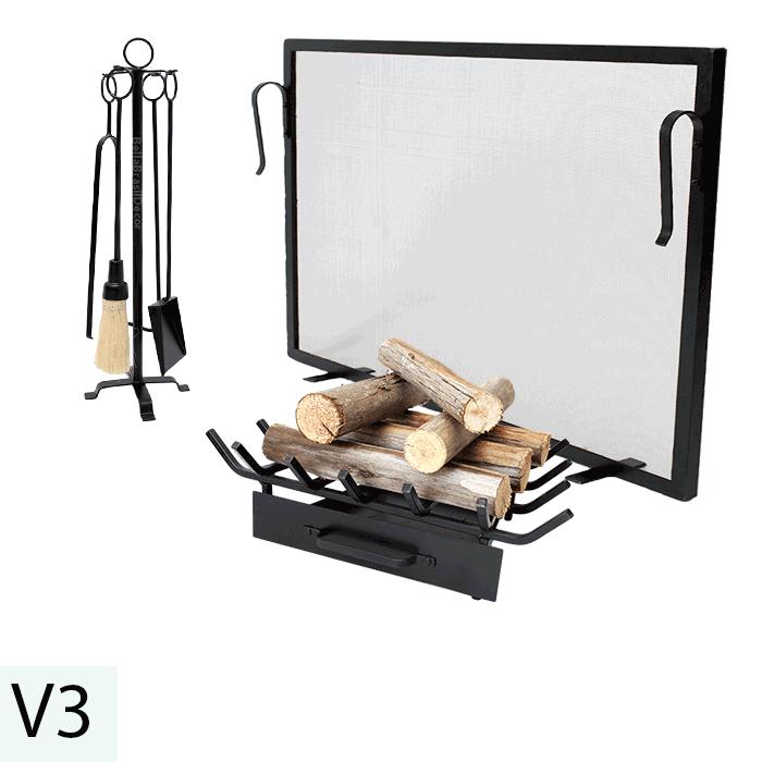 Kit Para Lareira Com Tela 60x40 e Acessorios - Codigo V3
