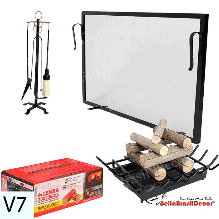 Kit Para Lareira Com Tela 70x50 e Acessorios - 3 peças V7